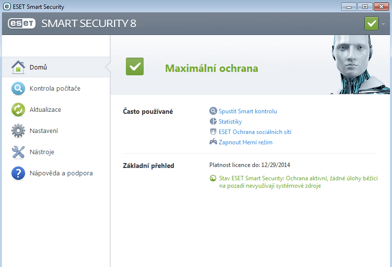 Eset Smart Security - menu