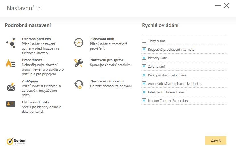 Norton Security Standard - Nastaveni