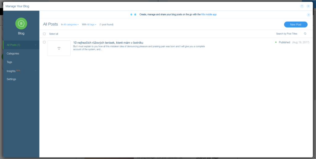 wix - blog manage