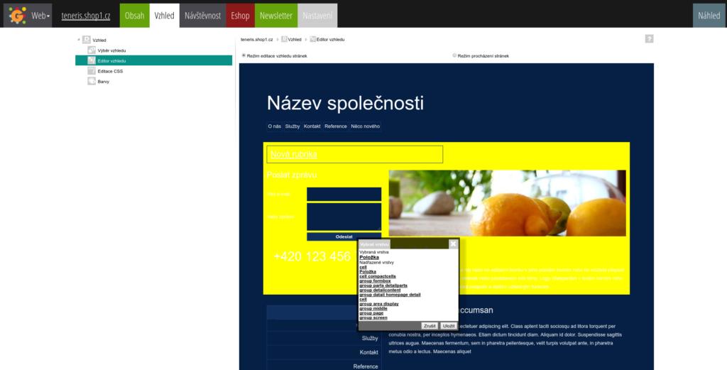 WebGarden-editor vzhledu