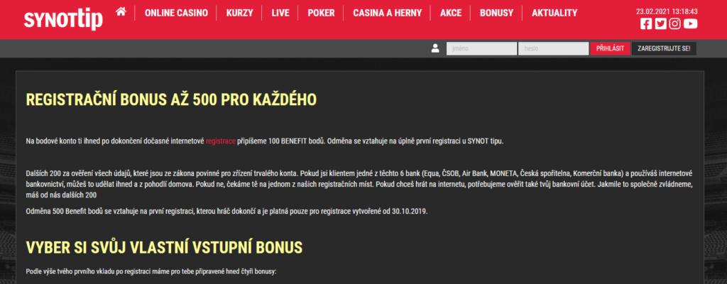 Synot Tip Bonus