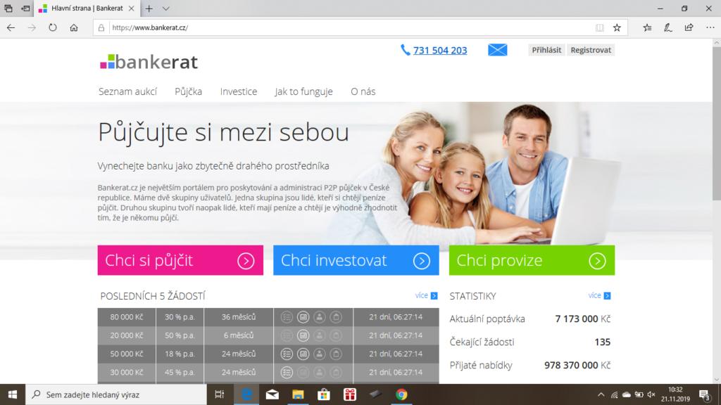 Bankerat - uvodni obrazovka