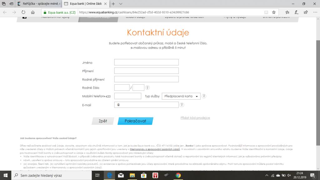 Equabank Repujcka - zadost on-line