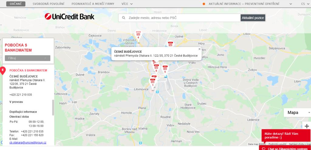 Unicredit Mapa Pobocky A Bankomaty