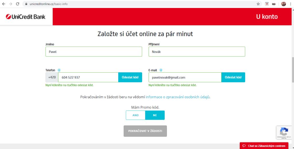 Unicredit Zalozeni Ukonta Online Zakladni Formular