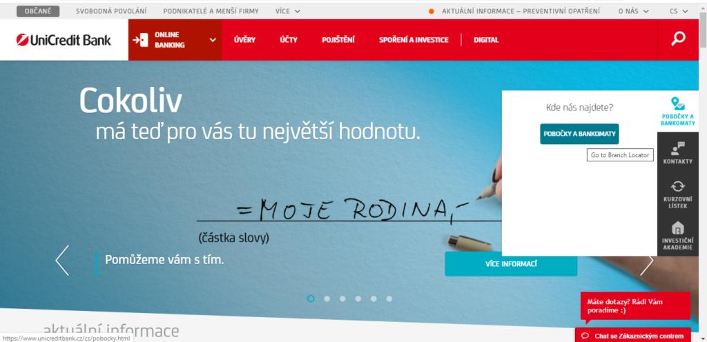 Unicredit Zalozka Pobocky A Bankomaty