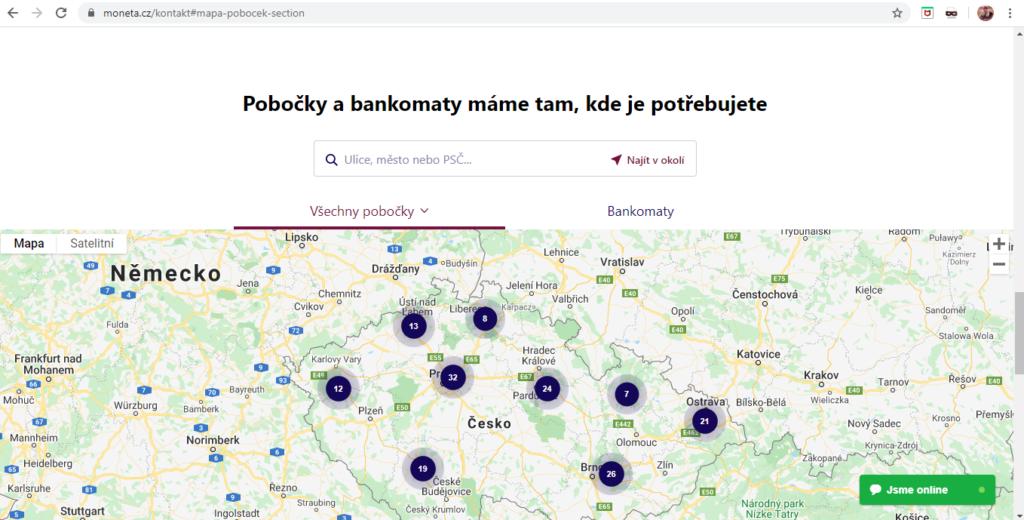 Moneta Pobocky A Bankomaty