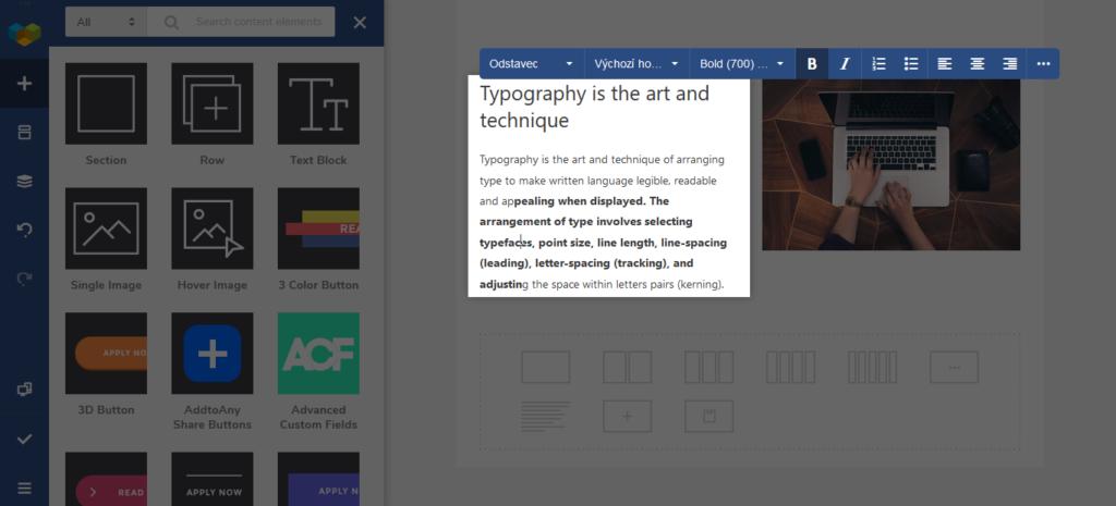 Visual Composer Uprava Textu