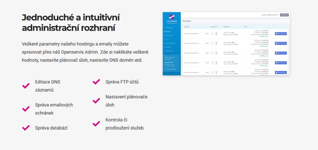 Openservis Administrace Hostingu