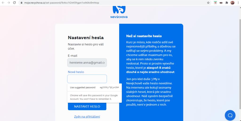 Nevychova Nastaveni Hesla