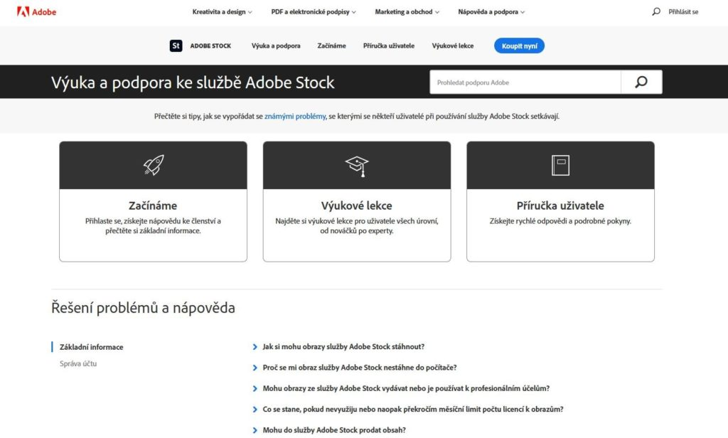 Adobe Fotolia Podpora