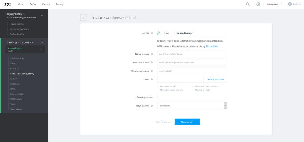 Websupport Instalace WordPress