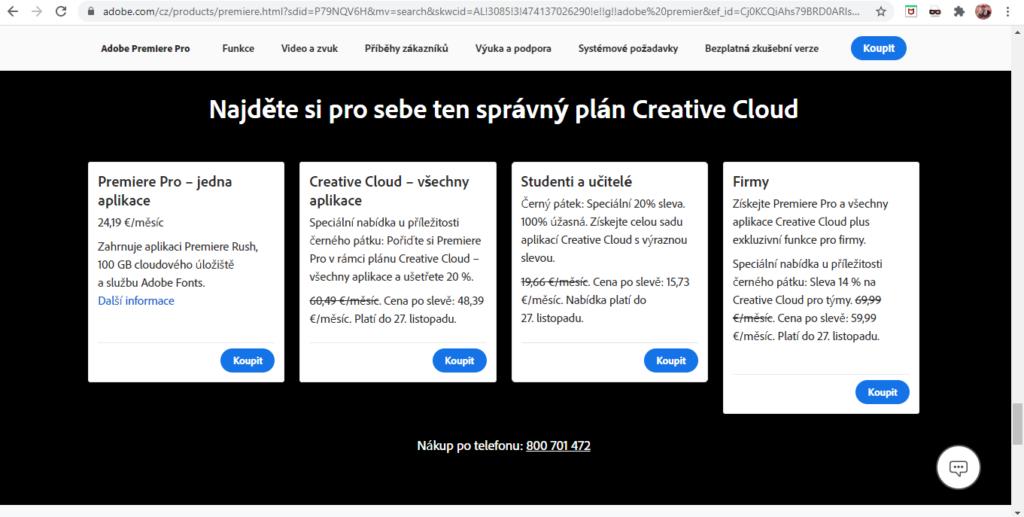 Adobe Premiere Pro Cenova Nabidka