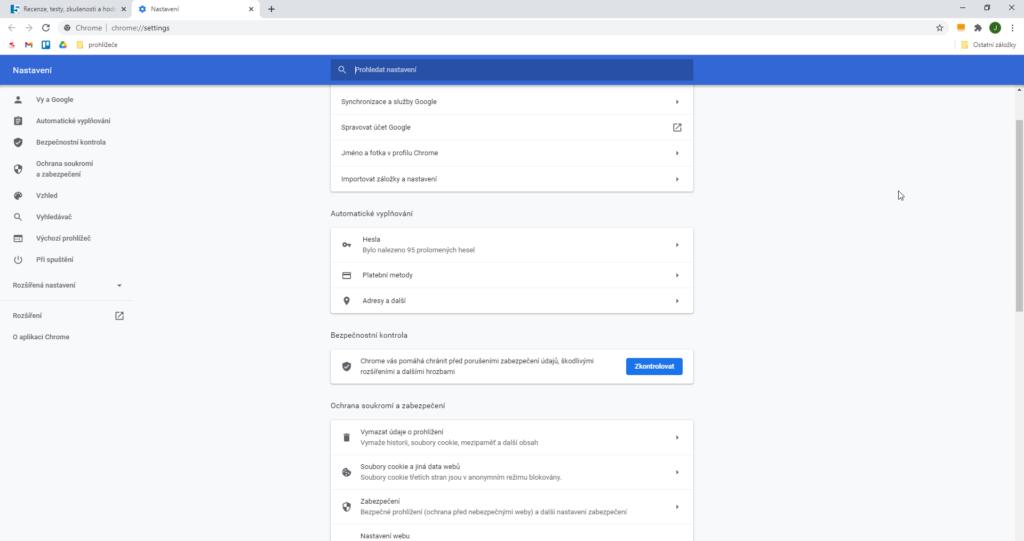 Google Chrome Nastaveni