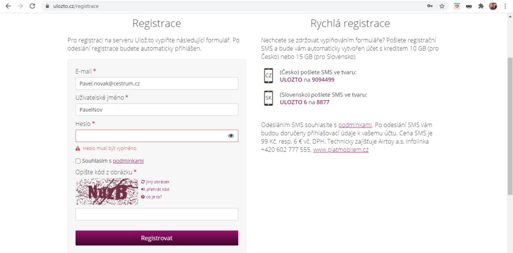 Uloz.to Registrace