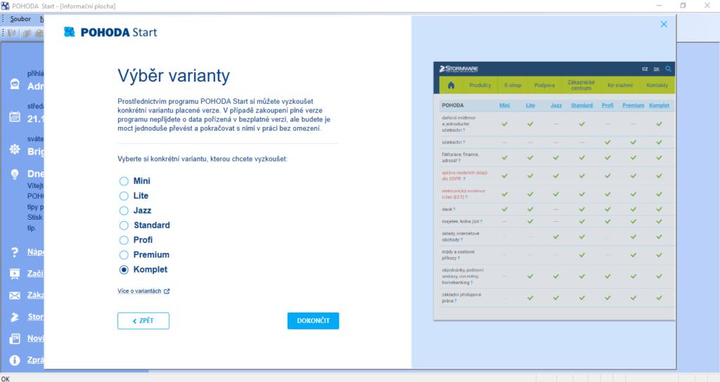Pohoda Registrace Vyber Varianty