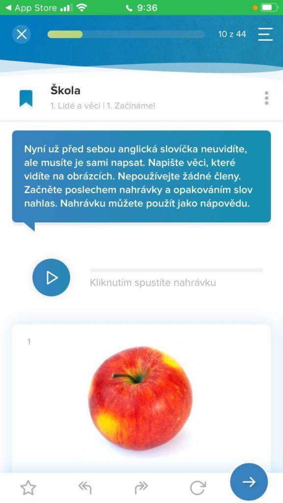 Aplikace Onlinejazyky Ukazka Popisku V Lekci