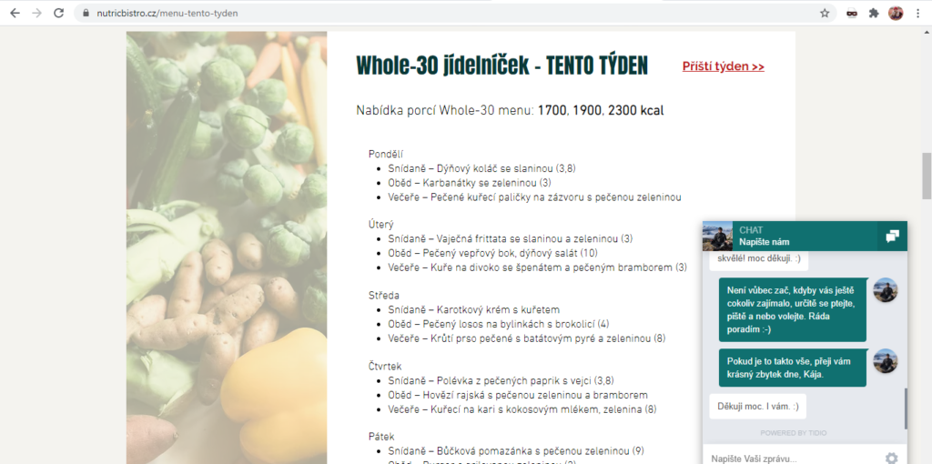 Nutric Bistro Ukazka Jidelnicku A Live Chat