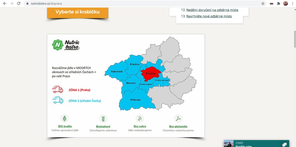 Nutricbistro Mapa Rozvozu Jidel