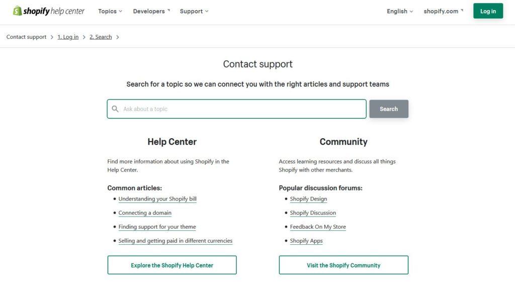 Shopify Podpora