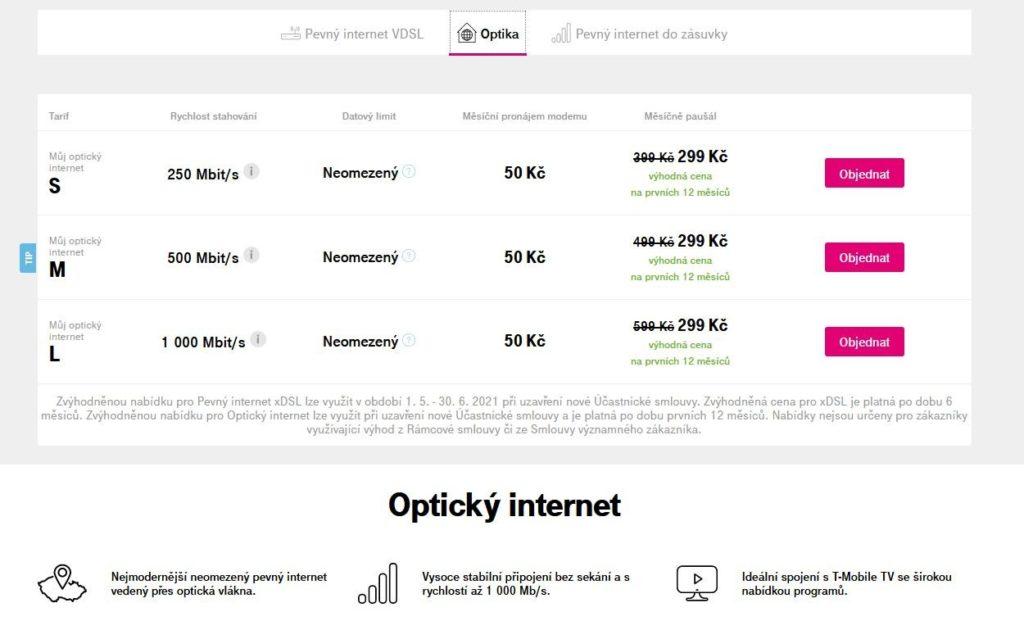 T Mobile Opticky Internet